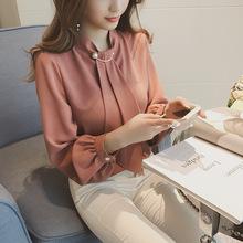 2020春装新款韩版环扣灯笼袖套头雪纺衫女长袖打底衬衫上衣