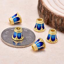七色酷景泰藍diy飾品配件 925銀鍍金三通佛頭花帽子 手串燒藍配飾