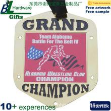 贴纸滴胶挂牌 大尺寸摔跤赛冠军奖牌设计生产
