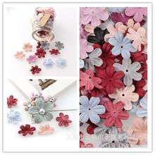 新款時尚發飾皮筋裝飾材料 韓國超纖皮布藝花壓花立體花朵手工花