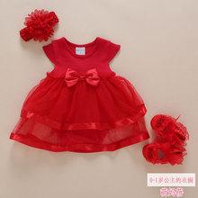 一岁女宝宝周岁生日礼服新生婴儿拜年服夏天裙子女童连衣裙夏季