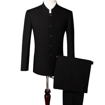 2019春夏新款职业装西装男士套装中年人商务正装男立领中山装批发