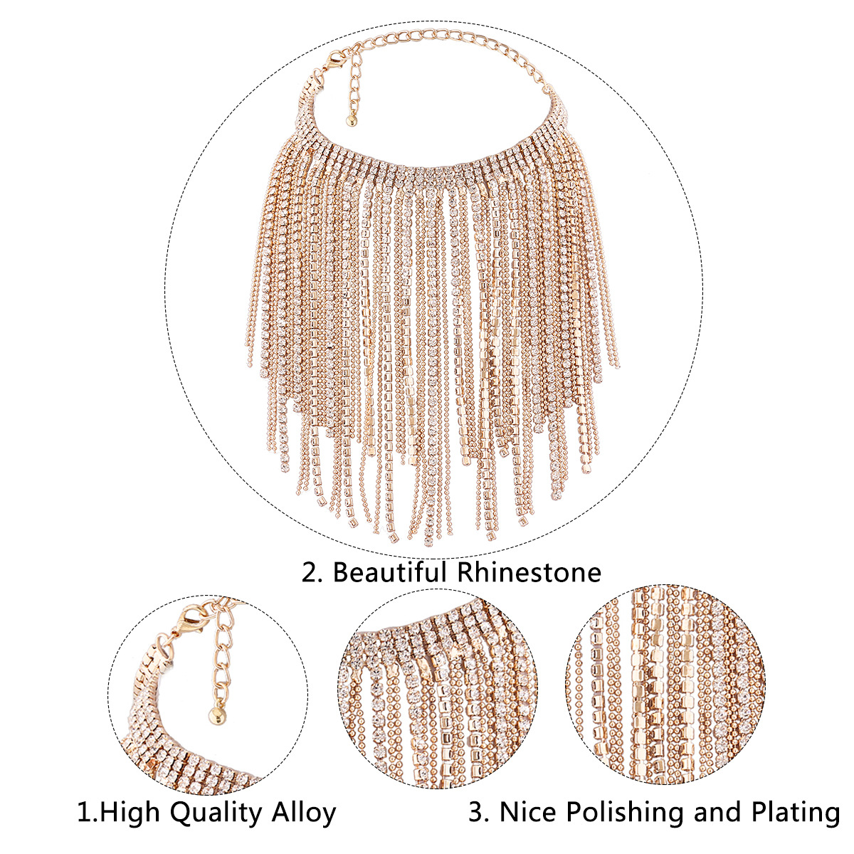 Fashion Alloy plating necklace Tassel (Gold)NHNMD4054-Gold