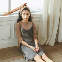 2017秋季新款女装韩版吊带裙子 压褶竖条宽松显瘦开叉吊带连衣裙