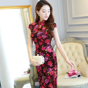 Fashion Chinese dresses floral qipao dresses stand-up collar cheongsam retro Chinese style short-sleeved slim Chinese cheongsam