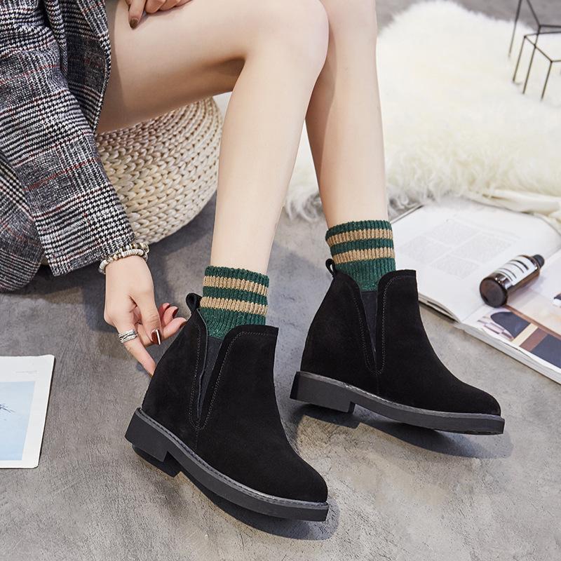 秋冬新款真皮马丁靴磨砂牛皮内增高短靴子女短筒切尔西靴女靴潮鞋