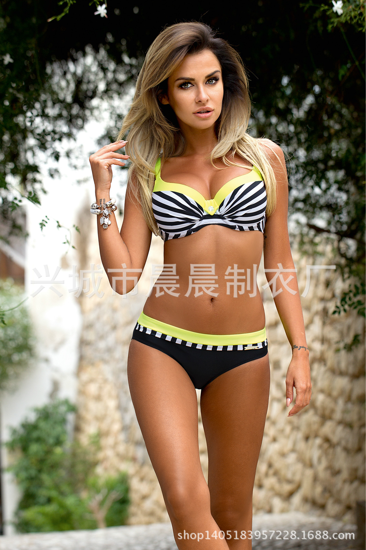 Sexy NylonSwimsuit (040 Striped Yellow-L)NHCC0492-040 Striped Yellow-L