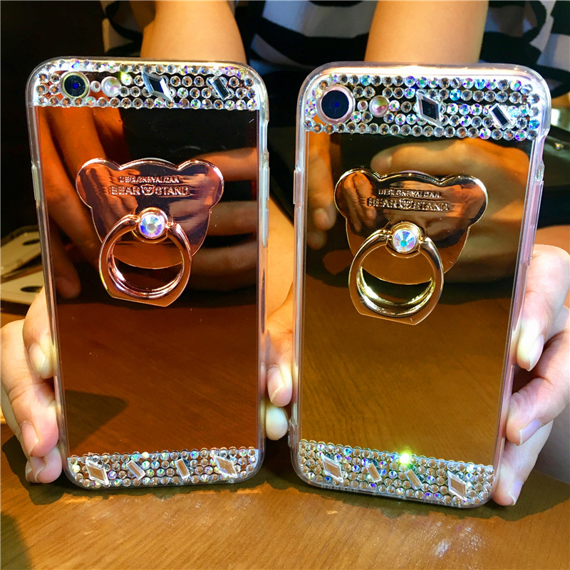 Plating mirror NOTE9 mobile phone case with colored rhinestones for iphoneX bear bracket S10 apple 8plus
