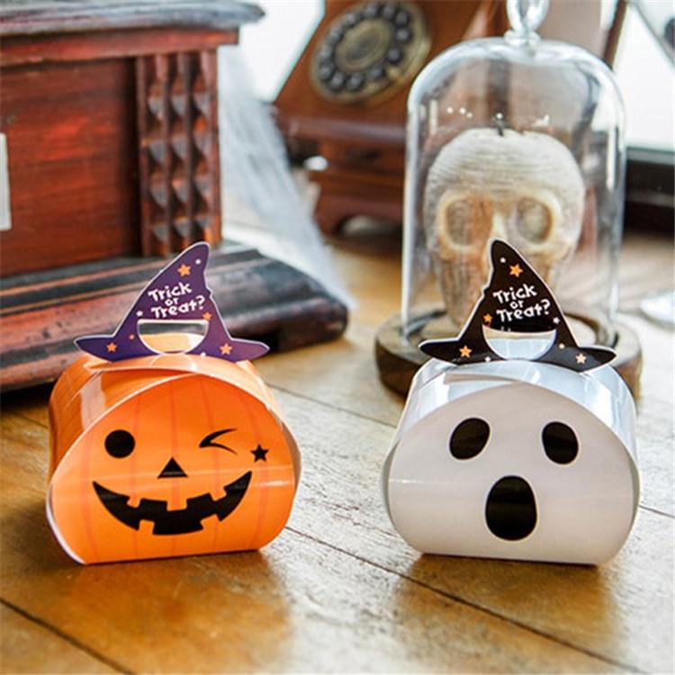 新款万圣节 白色恐怖幽灵南瓜糖果包装礼盒手提mini号纸袋子