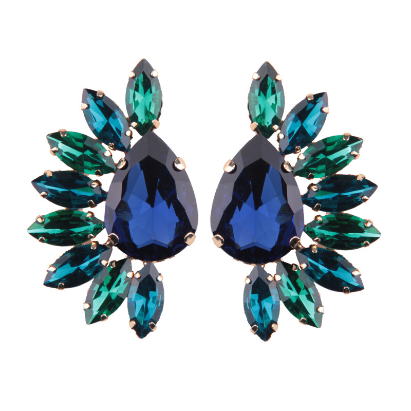 Occident and the United States alloy Inlaid gemstones earring (gray)NHJQ9229-gray