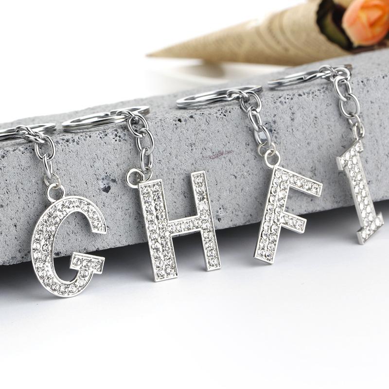 hot-selling fashion 26 English letters diamond keychain  wholesale NHMO256232