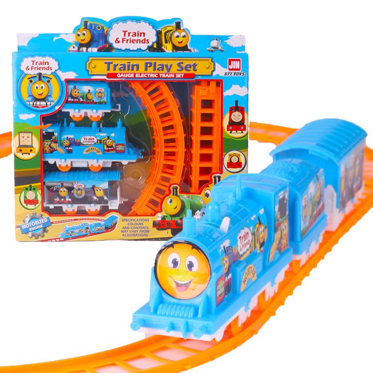 877-41电动托马斯小猪轨道车拼装小火车儿 批发地摊儿童礼品玩具
