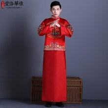 中式男裝新郎結婚禮服秀禾服敬酒服唐裝馬褂龍鳳褂婚禮古裝夏款