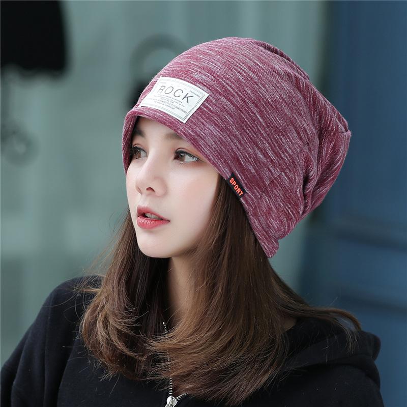 春秋款帽子双层防风保暖套头帽女士贴布rock堆堆帽护耳包头帽