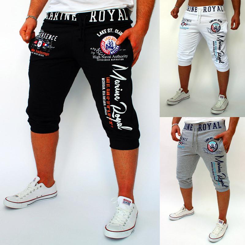 Men's new summer sports pants men's Korean slim fit digital letter printed casual Capris