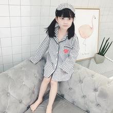 一件代发童装2017秋季新品翻领格子长袖单排扣童家居服(含眼罩)