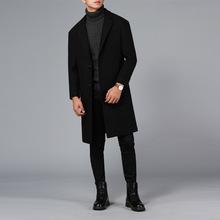 2018新款毛呢大衣男落肩长款加厚大衣情侣外套男呢子大衣西装男