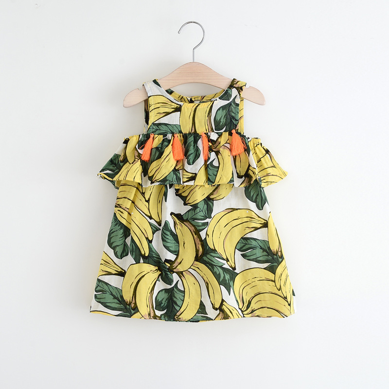 86fdfc5d01d0 Fashion children girls tulip printing outfits Summer printed banana dress  Cotton baby outfits kids sleeveless dresses Clothes free shipping