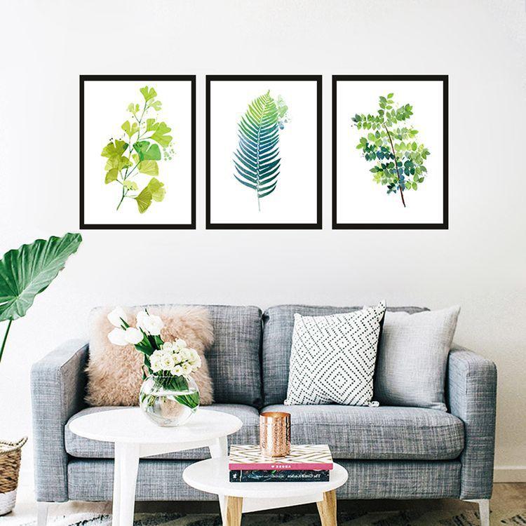 简欧客厅装饰画挂画沙发背景墙现代简约抽象画壁画油画树叶画芯