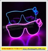 發光眼鏡蝴蝶結EL眼鏡KT貓hello kitty眼鏡酒吧圣誕派對冷光眼鏡