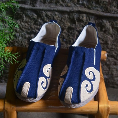 Chinese retro men's Linen matching shoes low top hand embroidered Zen shoes breathable monk shoes
