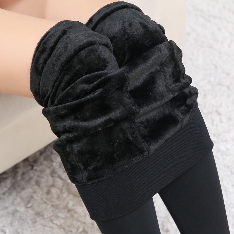 秋冬200g克珍珠绒打底裤加绒加厚高腰无缝一体裤高弹保暖裤货源