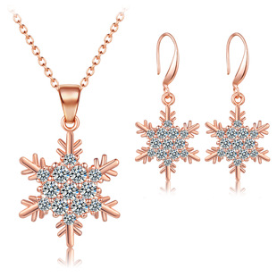 Christmas gift snowflake zircon necklace earrings jewelry set European and American new gemstone jewelry two-piece set