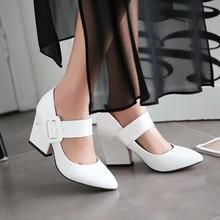 新款欧美潮流尖头搭扣女鞋春季百搭款高跟鞋漆皮单鞋大小码33-43