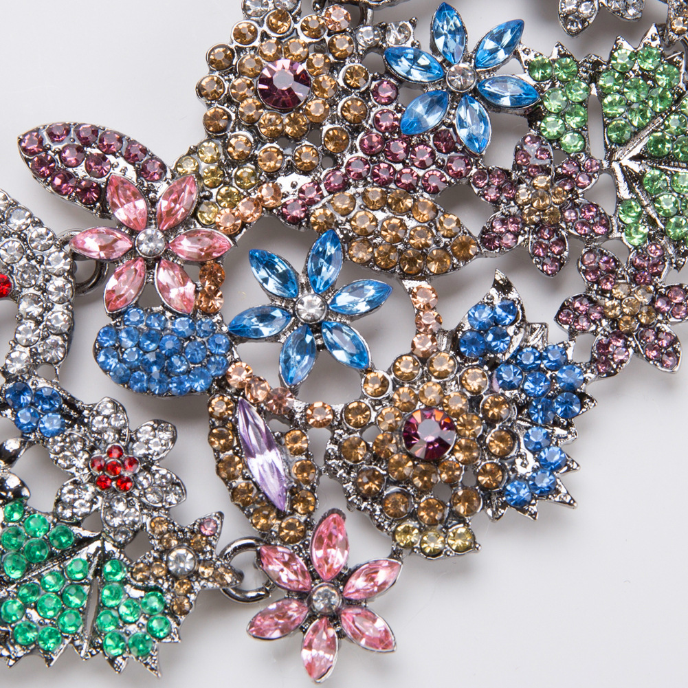 Fashion Alloy Rhinestone necklace Flowers (color)  NHJE0923-color