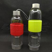 双头盖玻璃杯过滤网单层玻璃水瓶两头通玻璃水杯带硅胶套隔热定制