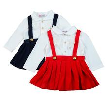 女童连衣裙外贸童装韩版春秋长袖拼接婴幼儿童蕾丝背带连衣童裙潮