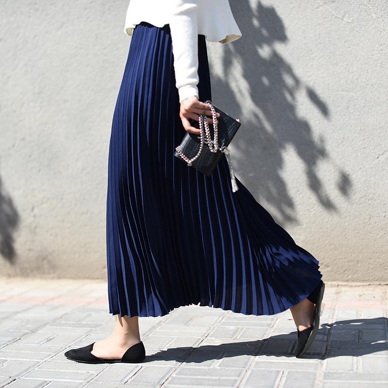 2021春季新款韩版纯色长款大码百褶裙高腰半身裙女松紧腰裙子
