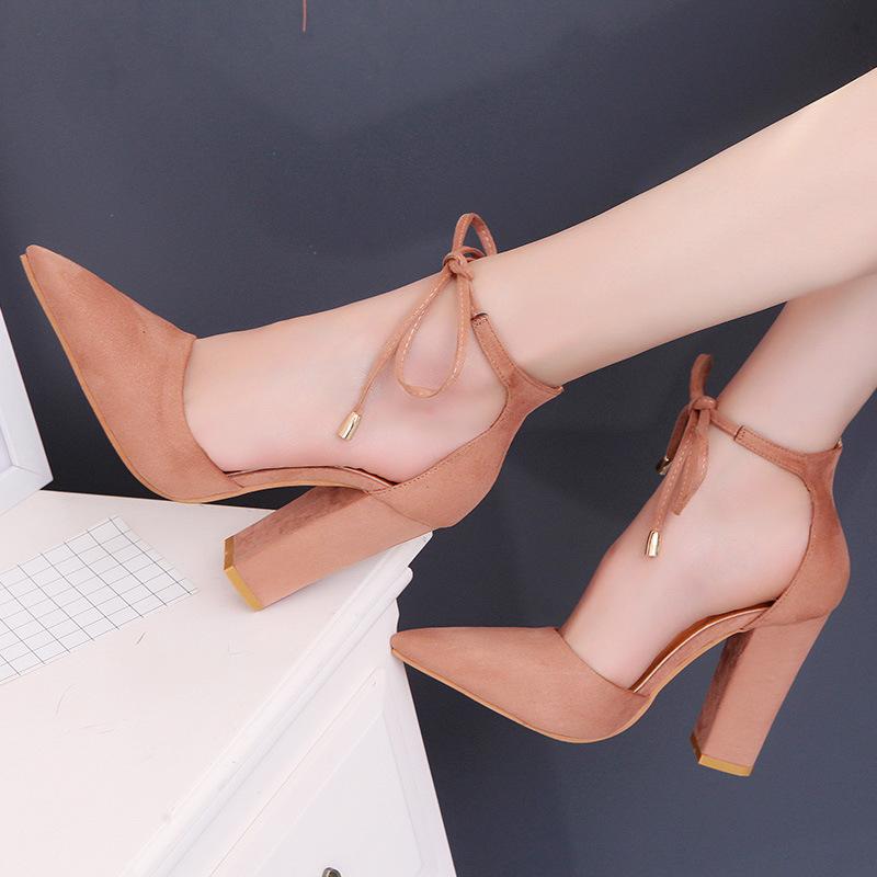 2018春夏季韩版尖头外贸大码绒面高跟鞋系带女鞋粗跟气质包头单鞋