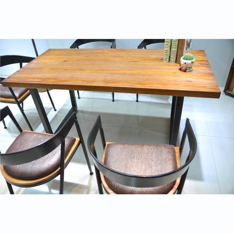 美式loft餐桌铁艺复古做旧实木电脑桌 办公桌书桌 咖啡厅桌椅组合