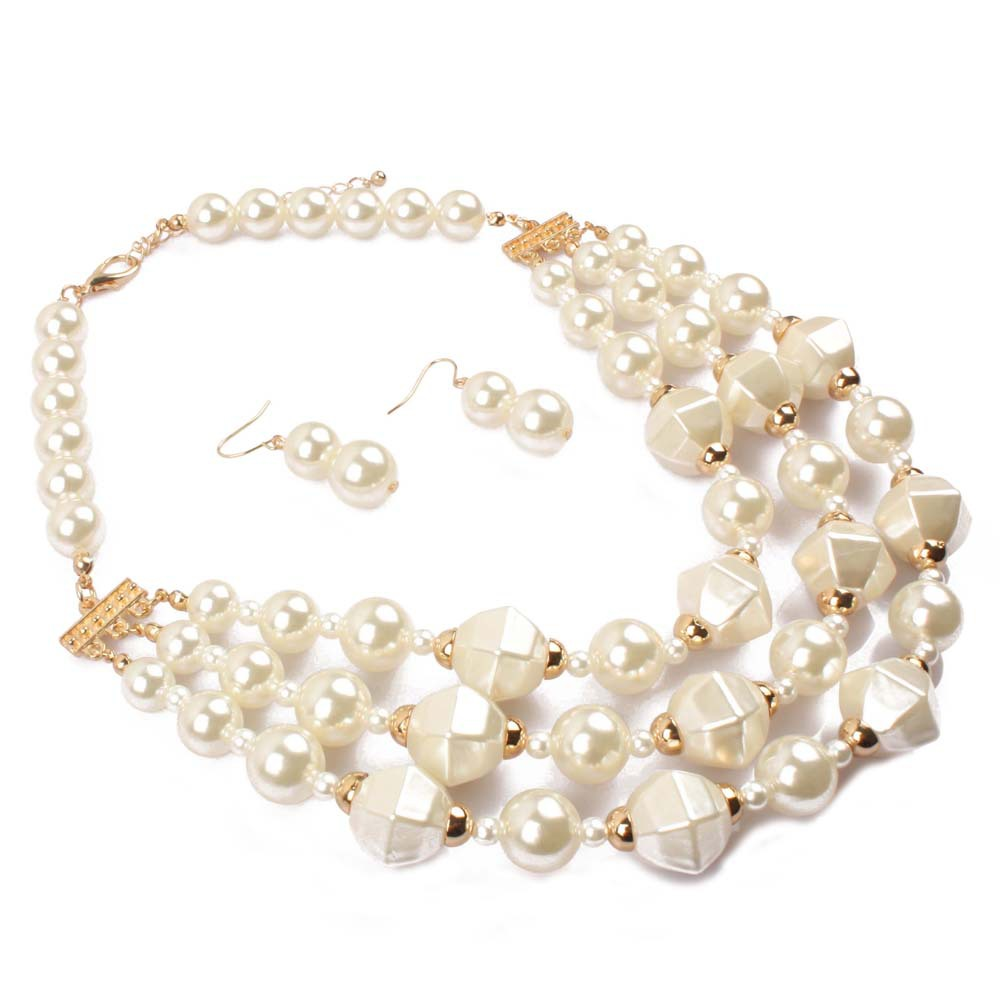 Occident and the United States pearlnecklace (creamy-white)NHCT0073-creamy-white