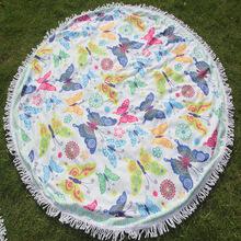 茉尚 优质爆款挂毯沙滩巾瑜伽垫带流苏外贸出口150cm印花地巾浴巾