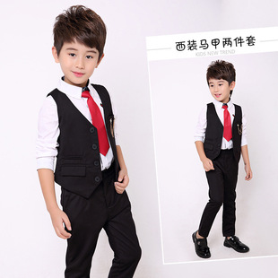 2020 spring new children's clothing small and medium-sized children's suit Korean version of self-cultivation children's vest suit two-piece set