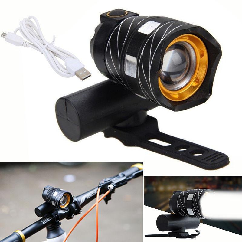 自行车T6车前灯 USB充电T6车前灯 山地车铝合金可充电前大灯 头灯