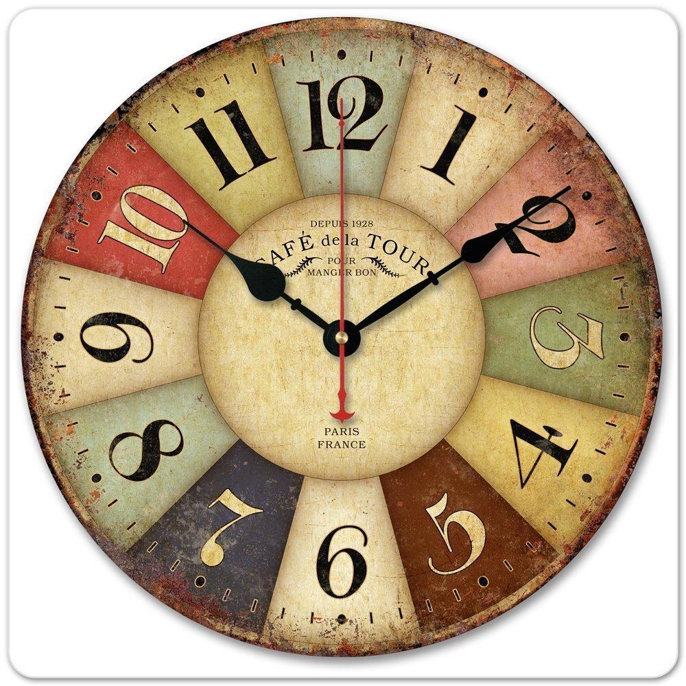 跨境货源欧式创意挂钟客厅钟表 静音木质挂钟 时尚现代石英壁复古
