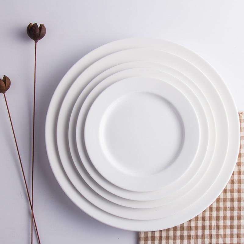 酒店餐厅餐具摆台纯白色骨瓷平盘菜盘西餐牛排盘圆形盘子自助餐盘