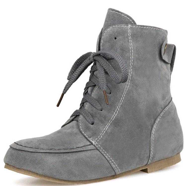 速外通大码女靴40-46码平底马丁靴磨砂内增高外贸短靴老款T-06