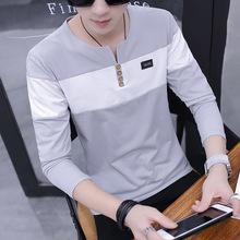 2017秋季男式长袖t恤 学生韩版圆领套头青年打底衫潮男士T恤男