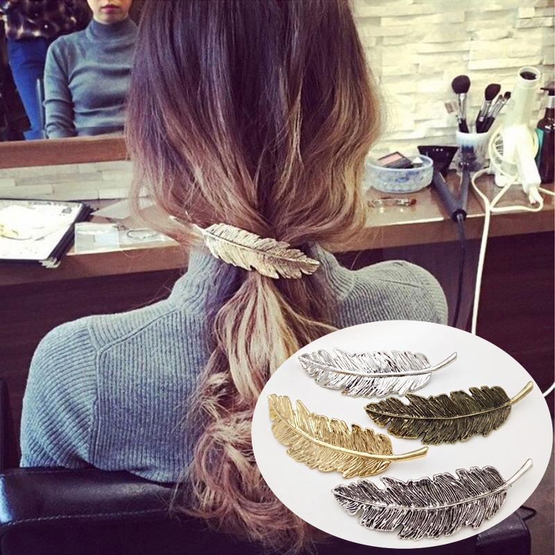 个性时尚合金羽毛发夹大树叶子边夹弹簧马尾夹发卡亚马逊速卖通热