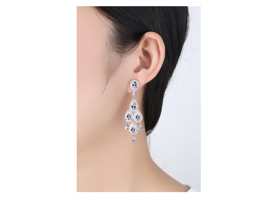 Copper Simple  earring  (Transparent zircon T09I05) NHTM0528-Transparent-zircon-T09I05