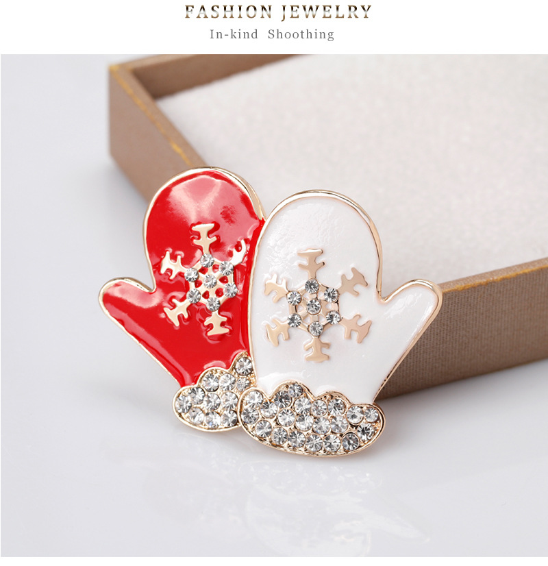 Christmas series Korean fashion brooch personality creative diamond snow red and white couple gloves female brooch NHDR179489