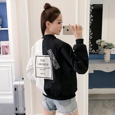 S-2XL春季新款大码棒球衫批发 韩版时尚学生立领拼接外套女宽松