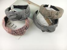 日韓版學院風英倫格子發箍百搭復古交叉打結頭箍發卡洗臉發飾頭飾