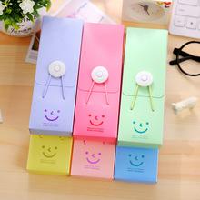 创意塑料文具盒 韩国微笑扣子笔盒糖果色可爱笑脸铅笔盒厂家批发T