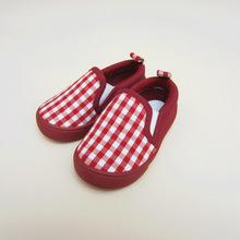 外貿原單工廠紅藍格子童鞋 童帆布鞋 童運動鞋注塑童鞋兒童平底鞋