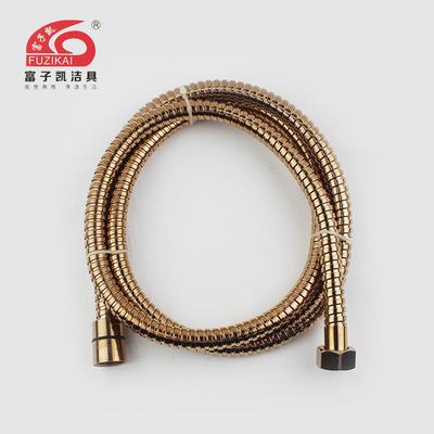 供应不锈钢镀钛金高档加密淋浴软管 防爆花洒软管 品质保证